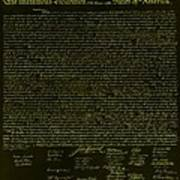 The Declaration Of Independence In Negative Yellow Poster