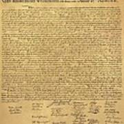 The Declaration Of Independence In Sepia Poster