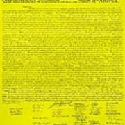 The Declaration Of Independence In Yellow Poster