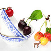 The Deers Among Cherries And Blue-and-white China Miniature Art Poster