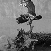 The Eagle And The Indian In Black And White Poster