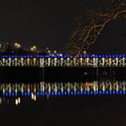 The East Falls Bridge At Night - Philadelphia Poster