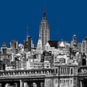 The Empire State Building Pantone Blue Poster by John Farnan