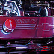 The Engine In A 1956 Chevy Bel Air Custom Hot Rod Poster by David Patterson