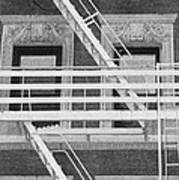 The Fire Escape In Black And White Poster