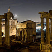 The Forum Temples At Night Poster