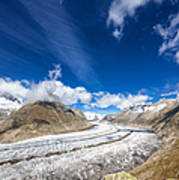 The Great Aletsch Glacier And Deep Blue Sky Poster