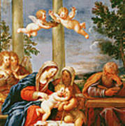 The Holy Family With St. Elizabeth And St. John The Baptist, C.1645-50 Oil On Copper Poster