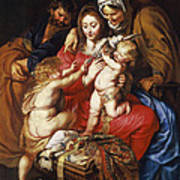 The Holy Family With St Elizabeth St John And A Dove Poster