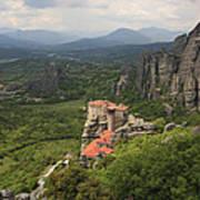 The Holy Monastery Of Rousanou Meteora Greece  Poster