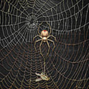 The Hunter And Its Pray - A Gold Fly Caught By A Gold Spider Poster