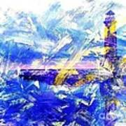 The Lighthouse Through Turbulent Waters Poster