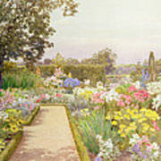The Lily Border At Great Tangley Manor Poster