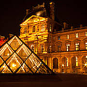 The Louvre At Night Poster