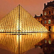 The Louvre By Night Poster