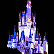 The Magic Kingdom Castle In Blue And Purple Walt Disney World Fl Poster