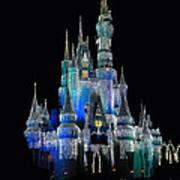 The Magic Kingdom Castle In Frosty Dark Blue Walt Disney World Poster