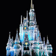 The Magic Kingdom Castle In Frosty Light Blue Walt Disney World Poster