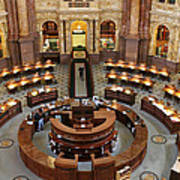 The Main Reading Room Of The Library Of Congress Poster