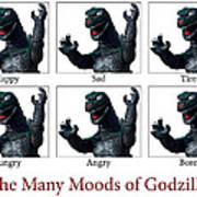 The Many Moods Of Godzilla Poster by William Patrick