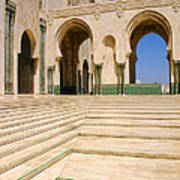 The Massive Colonnades leading to the Hassan II Mosque Sour Jdid Casablanca Morocco Poster