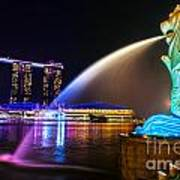 The Merlion Fountain And Marina Bay Sands - Singapore Poster