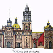The Mexico City Cathedral Poster