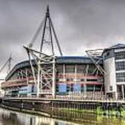 The Millennium Stadium With Flag Poster