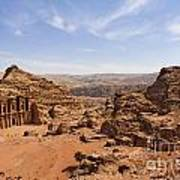 The Monastery And Landscape At Petra In Jordan Poster by Robert Preston