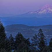 The Moon Beside Mt. Hood Poster