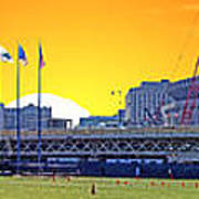 The Old And New Yankee Stadiums Side By Side At Sunset Poster