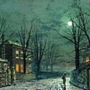 The Old Hall Under Moonlight Poster