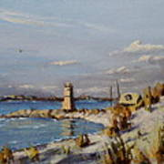 The Old Lighthouse At Rockaway Point Poster