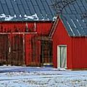 The Old Red Barn In Winter Poster