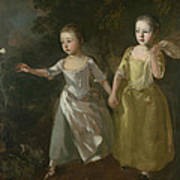 The Painter's Daughters Chasing A Butterfly Poster