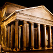 The Pantheon At Night - Painting Poster
