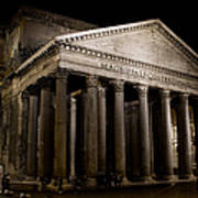 The Pantheon At Night Poster