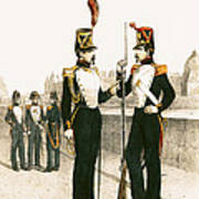 The Parisian Municipale Guard, Formed 29th July 1830 Coloured Engraving Poster