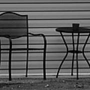 The Patio Chairs In Black And White Poster