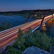 The Pennybacker Bridge At Twilight Poster
