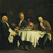 The Poet Alexis Piron 1689-1773 At The Table With His Friends, Jean Joseph Vade 1720-57 And Charles Poster