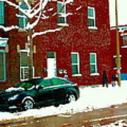 The Point Pointe St Charles Snowy Walk Past Red Brick House Winter City Scene Carole Spandau Poster