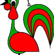 The Portoguise Rooster son of Santa Claus wishes you a Happy Chrismas Poster