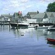The Red Boat  Nantucket Harbor Poster
