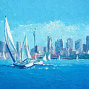 The Regatta Sydney Habour By Jan Matson Poster