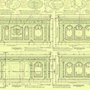 The Resolute Desk Blueprints - Soft Yellow Poster by Kenneth Perez