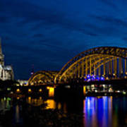 The Rhine Rail Bridge And Cathedral Of Cologne Poster