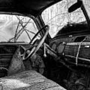 The Seat Of An Old Truck In Black And White Poster