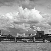 The Shard And Thames View Black And White Version Poster