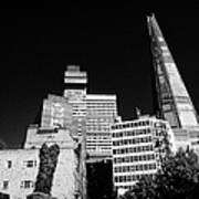 the shard building towering over local buildings including guys hospital in southwark London England Poster